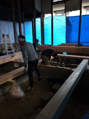 古民家再生の家、解体工事が終わり、大工工事へ