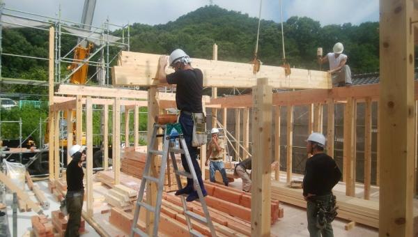 岡山県倉敷市 2階建て住宅建築 棟上げ