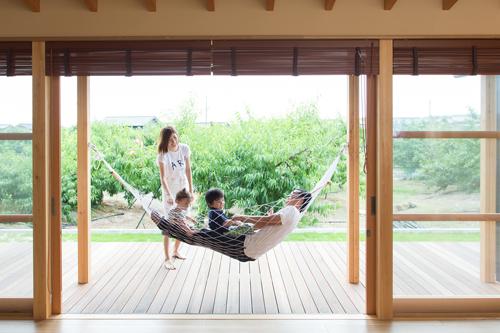 倉敷市玉島 もも畑に囲まれて暮らす平屋の家 内観 ハンモック