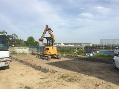 岡山県倉敷市三田 風かおる家 基礎工事開始の様子
