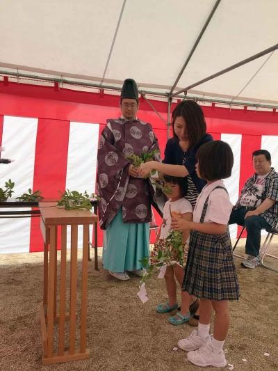 岡山県総社市 原田邸の地鎮祭イベント 玉串写真2016/6/20