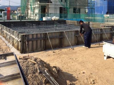 岡山県総社市中原「笑顔がつながる家」の基礎工事の模様