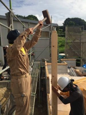岡山県倉敷市玉島 眺めのいい家 上棟時柱立て