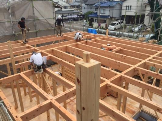岡山市北区新屋敷町 上棟の様子 ボルト施工 その3 2016/7/12