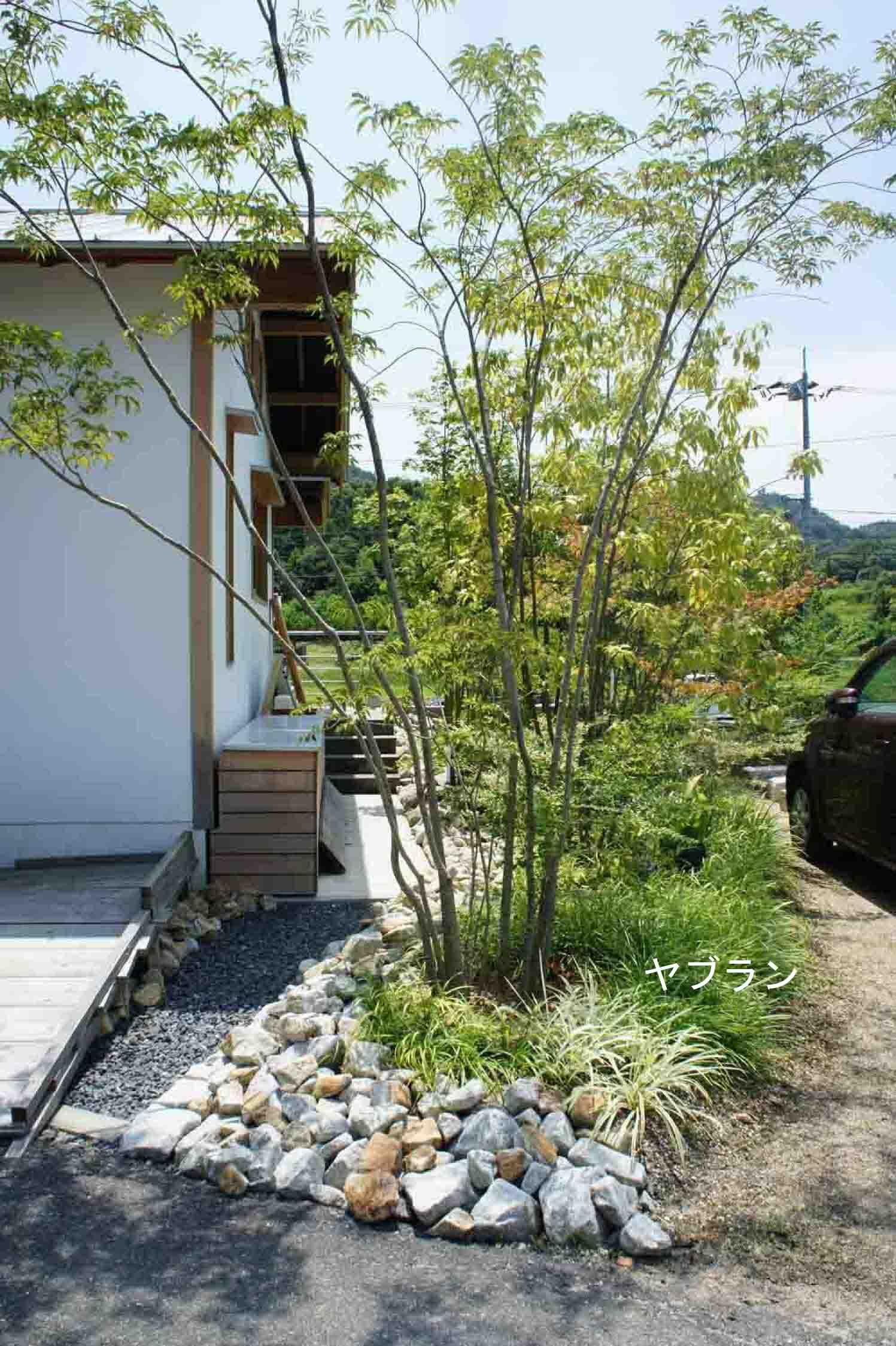 岡山県総社市宿 完成建物 庭の様子 その1