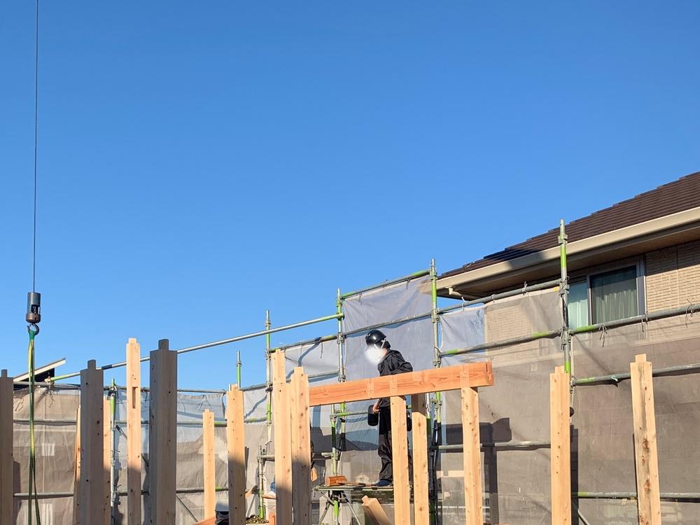 平屋 木まま 新築住宅 上棟