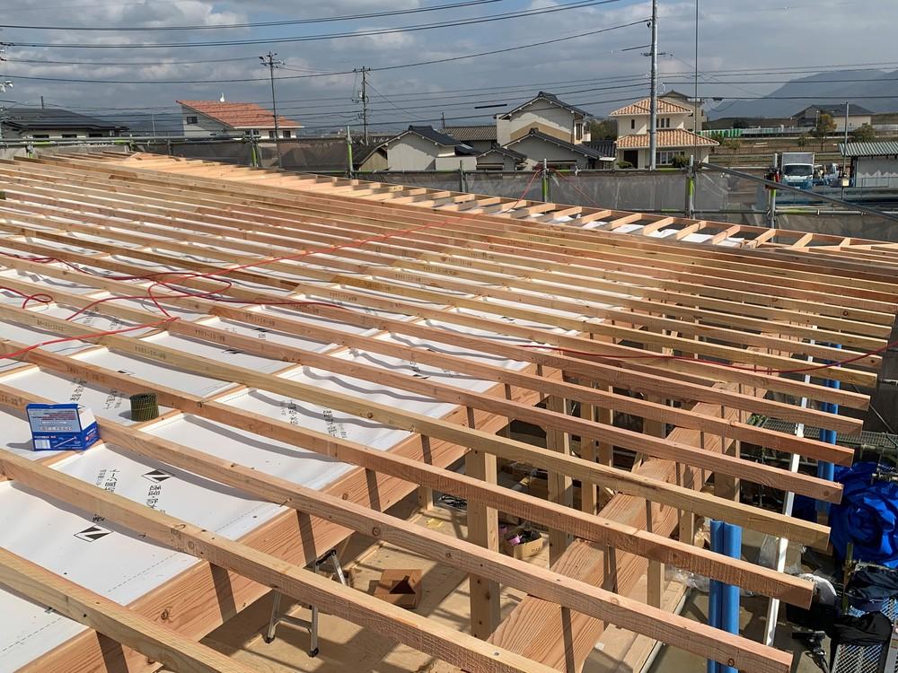平屋 木まま 新築住宅 木工事 棟上げ