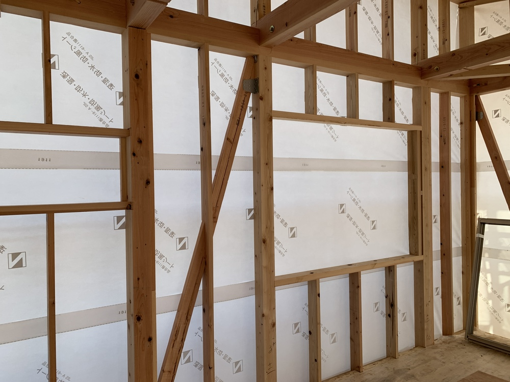平屋 木まま 新築住宅 木工事 筋交い 金物