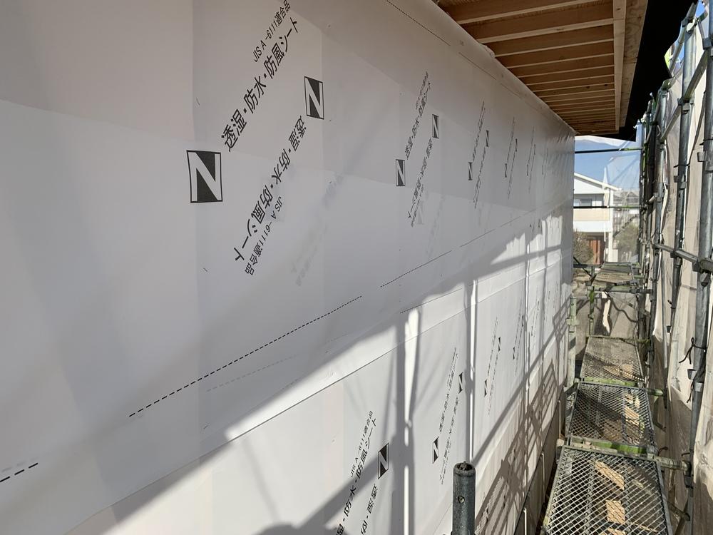 平屋 木まま 新築住宅 木工事 外壁透湿シート