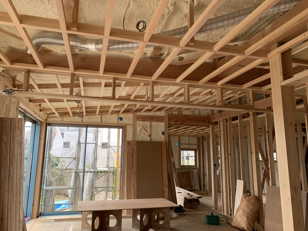 平屋 木まま 新築住宅 外壁 大工工事 左官