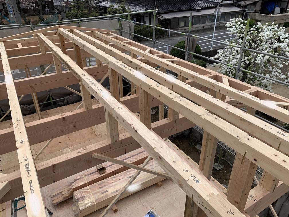 平屋 木まま 新築住宅 大工工事 上棟