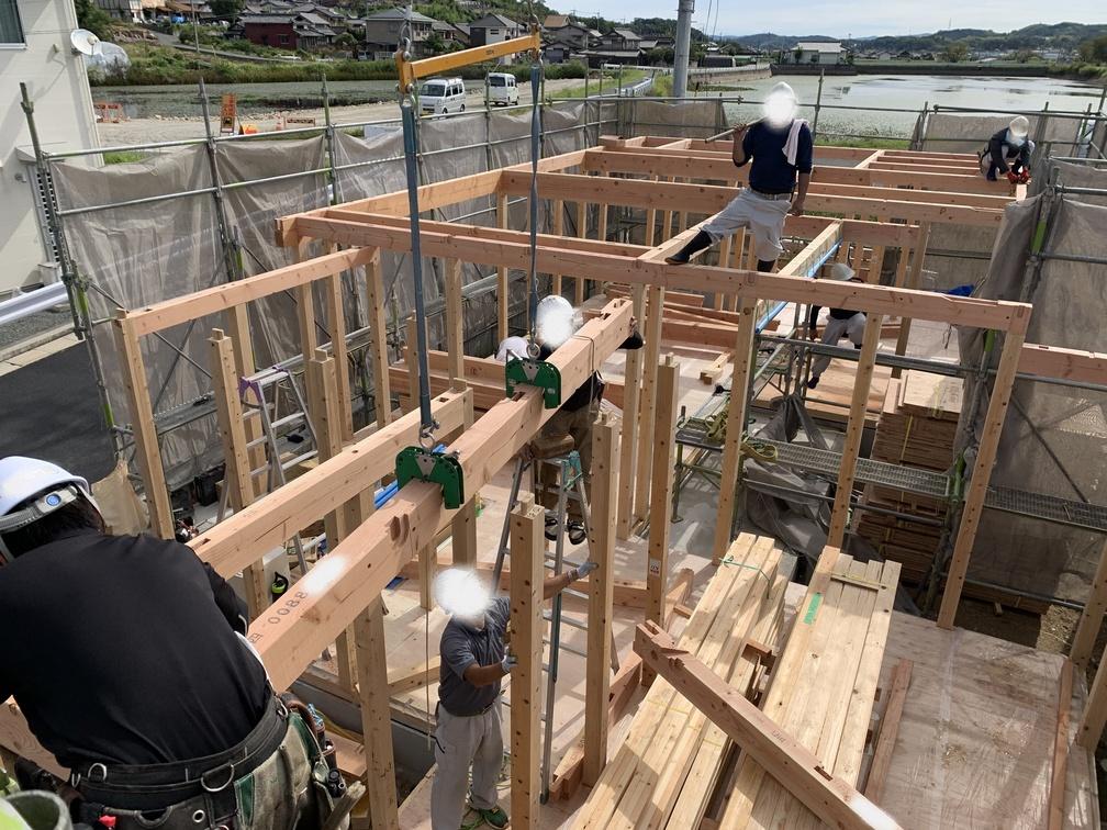 木まま 平屋 木造新築住宅 棟上げ